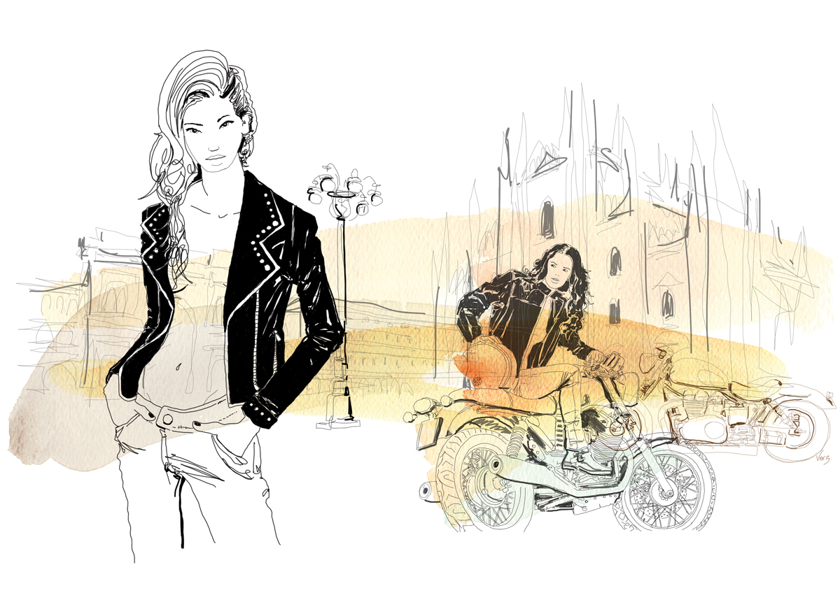 fashion-donne-motori-piazza-duomo-milano-illustration-fabio-delvo