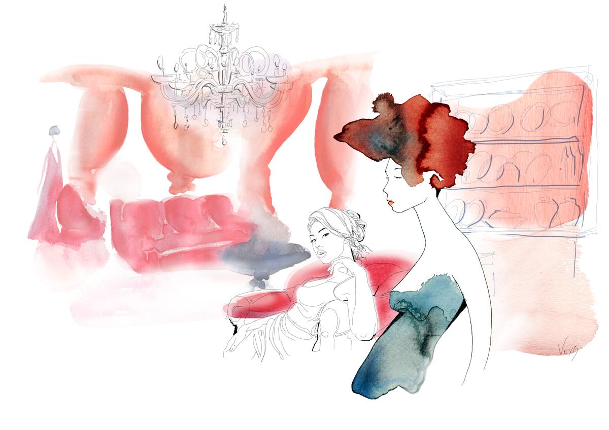 fashion-interni-design-soggiorno-rosso-porpora-illustration-fabio-delvo