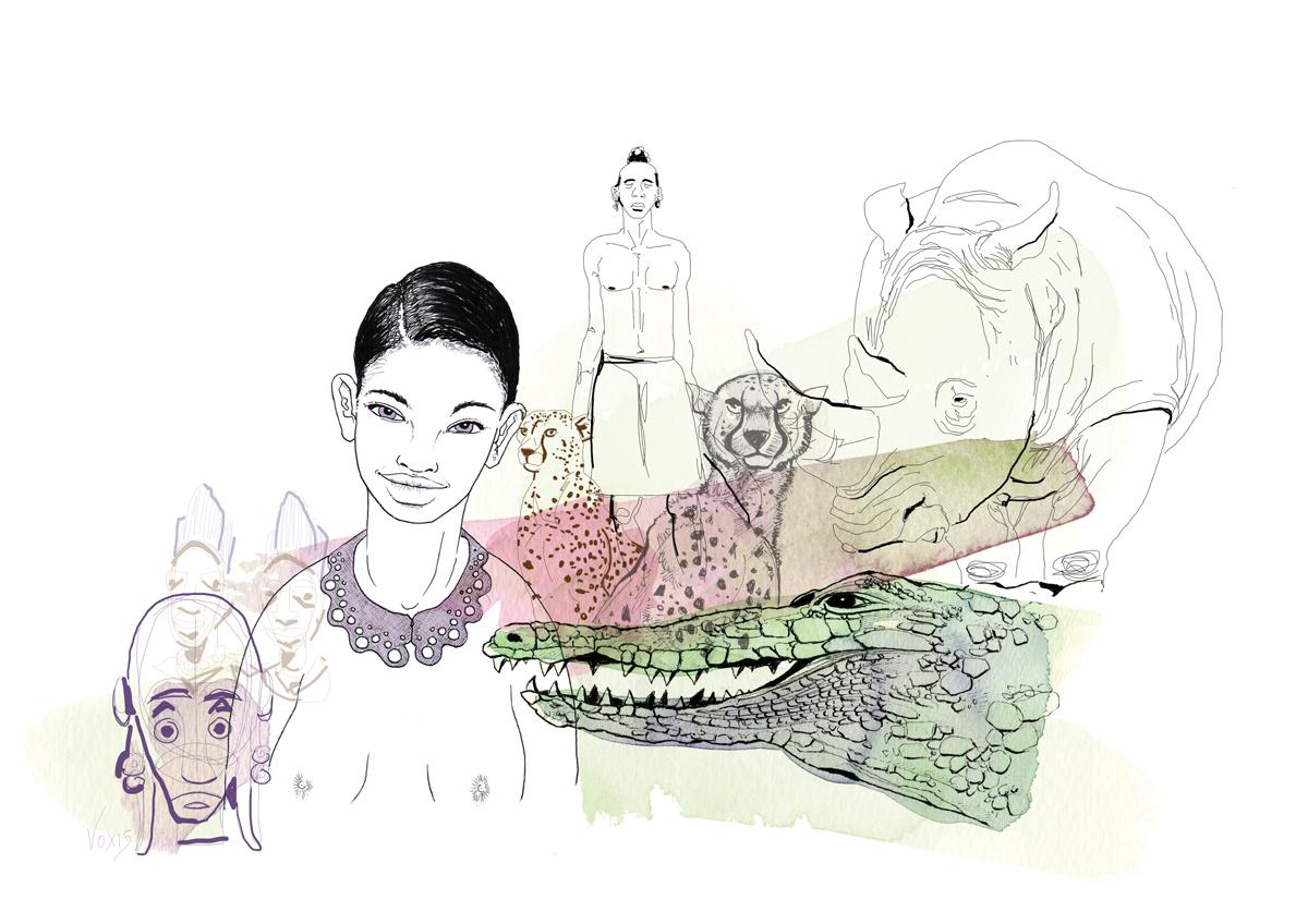 giungla-africa-etniche-animali-illustration-fabio-delvo