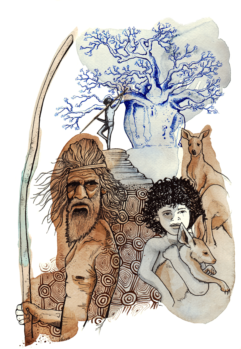 popolazioni-continenti-australia-aborigeni-illustration-fabio-delvo