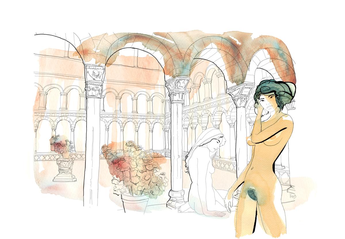 fashion-esterni-moda-nudo-chiostro-borgo-torri-illustration-fabio-delvo