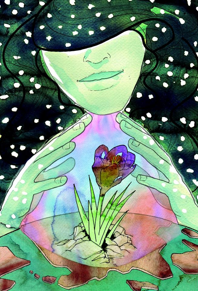 Primavera-Poesia-Vivian Lamarque-risveglio-fiore-protezione-La Lettura-Corriere della Sera-20 marzo 2016-illustration-fabio-delvo