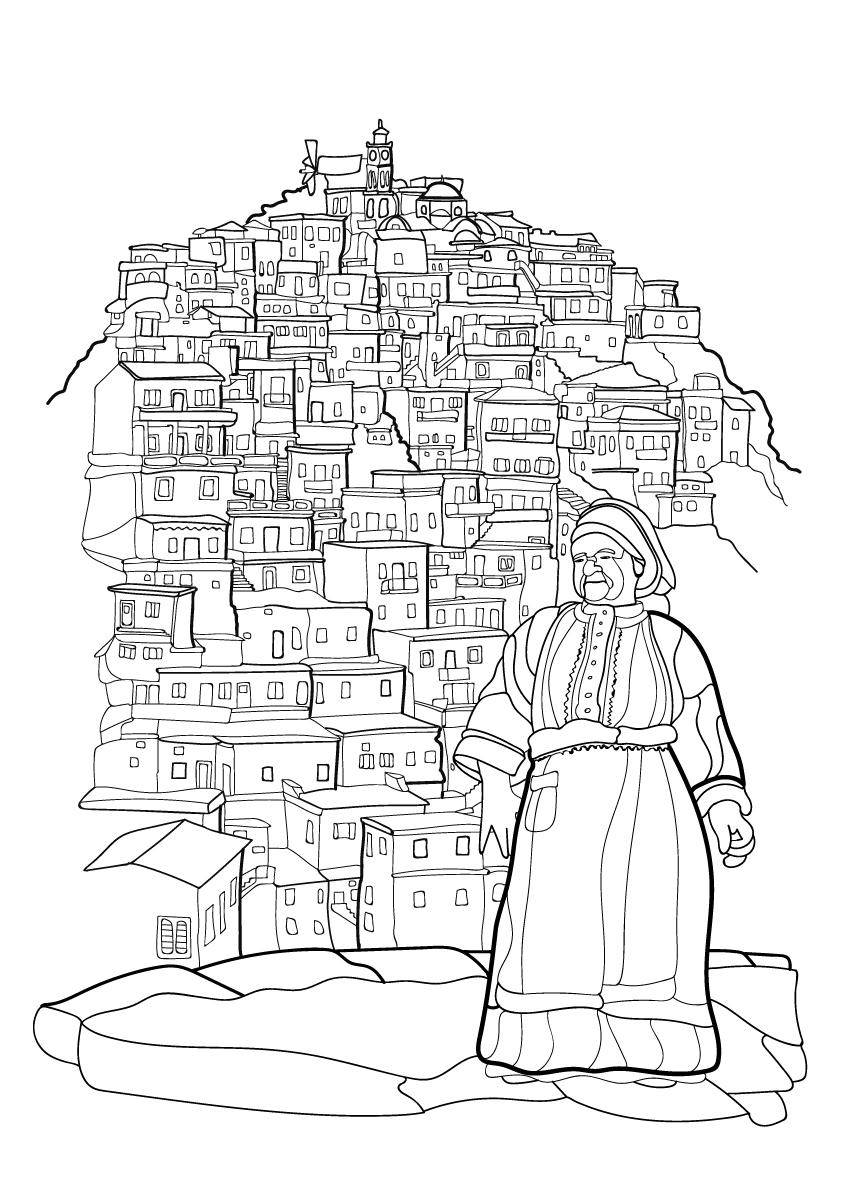 coloring books-città del colore-colore-Olympos-Karpathos-Grecia-illustration-fabio-delvo