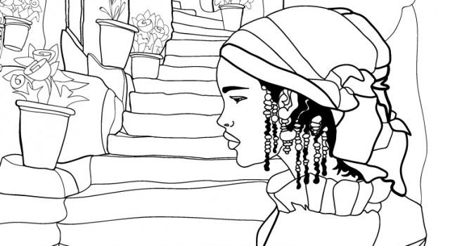 coloring books-città del colore-colore-chefchouen-marocco-illustration-fabio-delvo