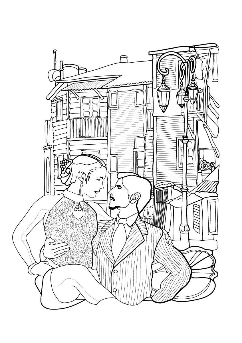 coloring books-città del colore-colore-la boca-buenos aires-argentina-tango-illustration-fabio-delvo