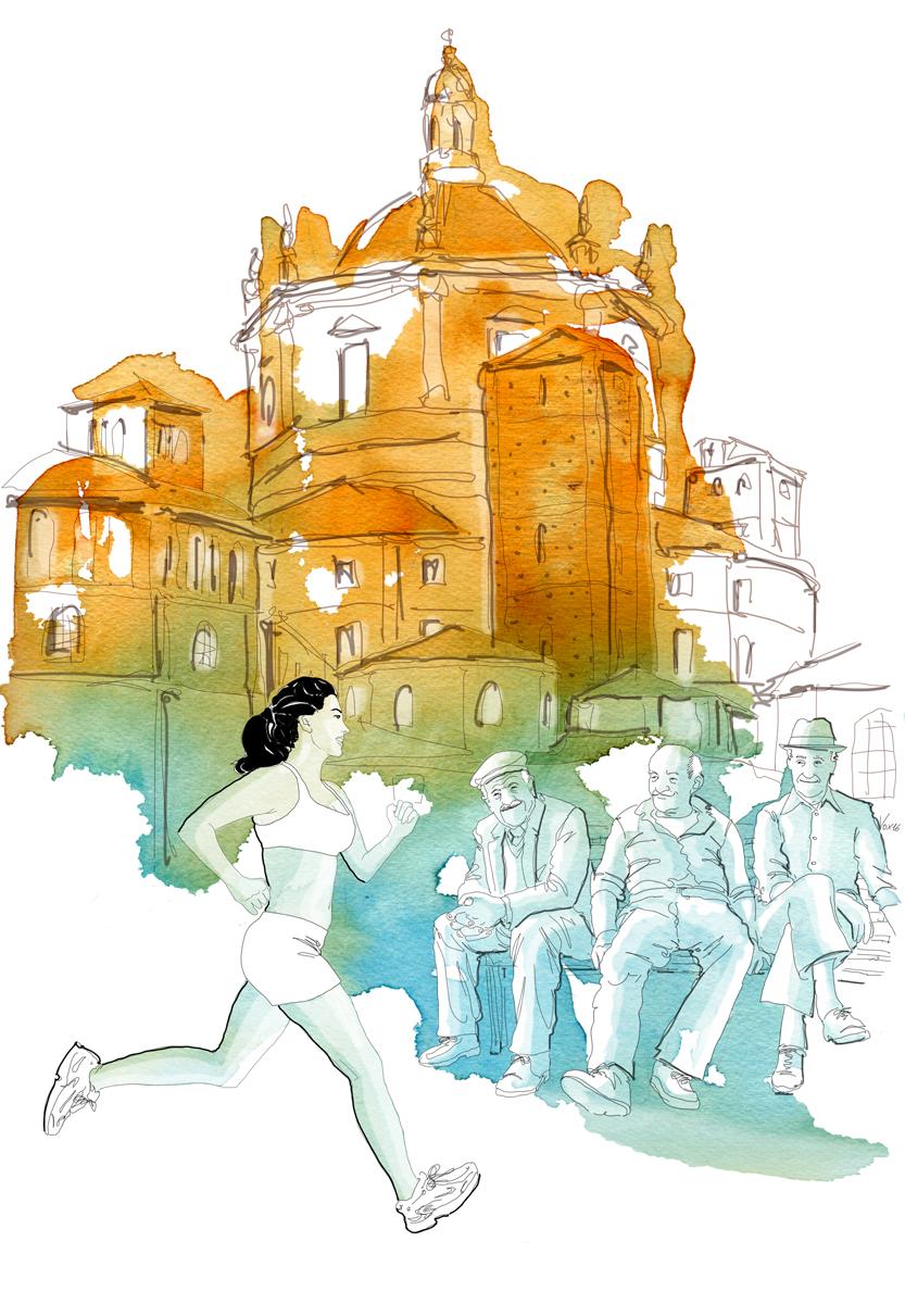 runner-donna-vecchi-parco delle basiliche-milano-sport-correre-illustrations-fabio delvo-delvox