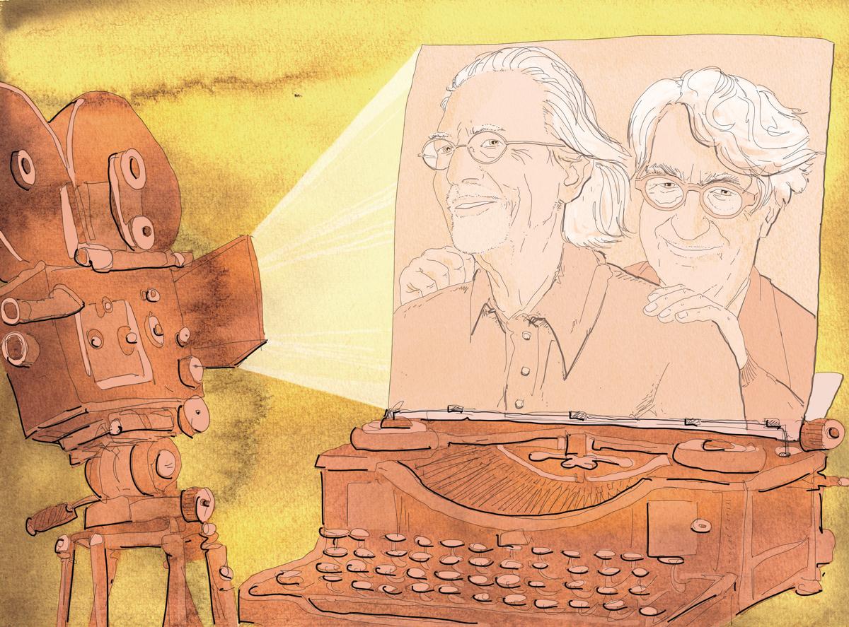 Peter Handke-Wim Wenders-scrittore-regista-austriaco-tedesco-libro-film-macchina da scrivere-La Lettura-Corriere della Sera-14 agosto 2016-illustration-delvox-fabio delvo