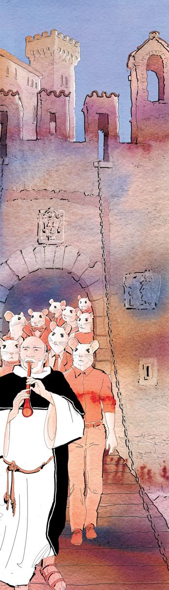 populismo-lotta di classe-medio evo-vicente ferrer-ildefonso falcones-pifferaio-La Lettura-Corriere della Sera-16 ottobre 2016-illustration-delvox-fabio delvo