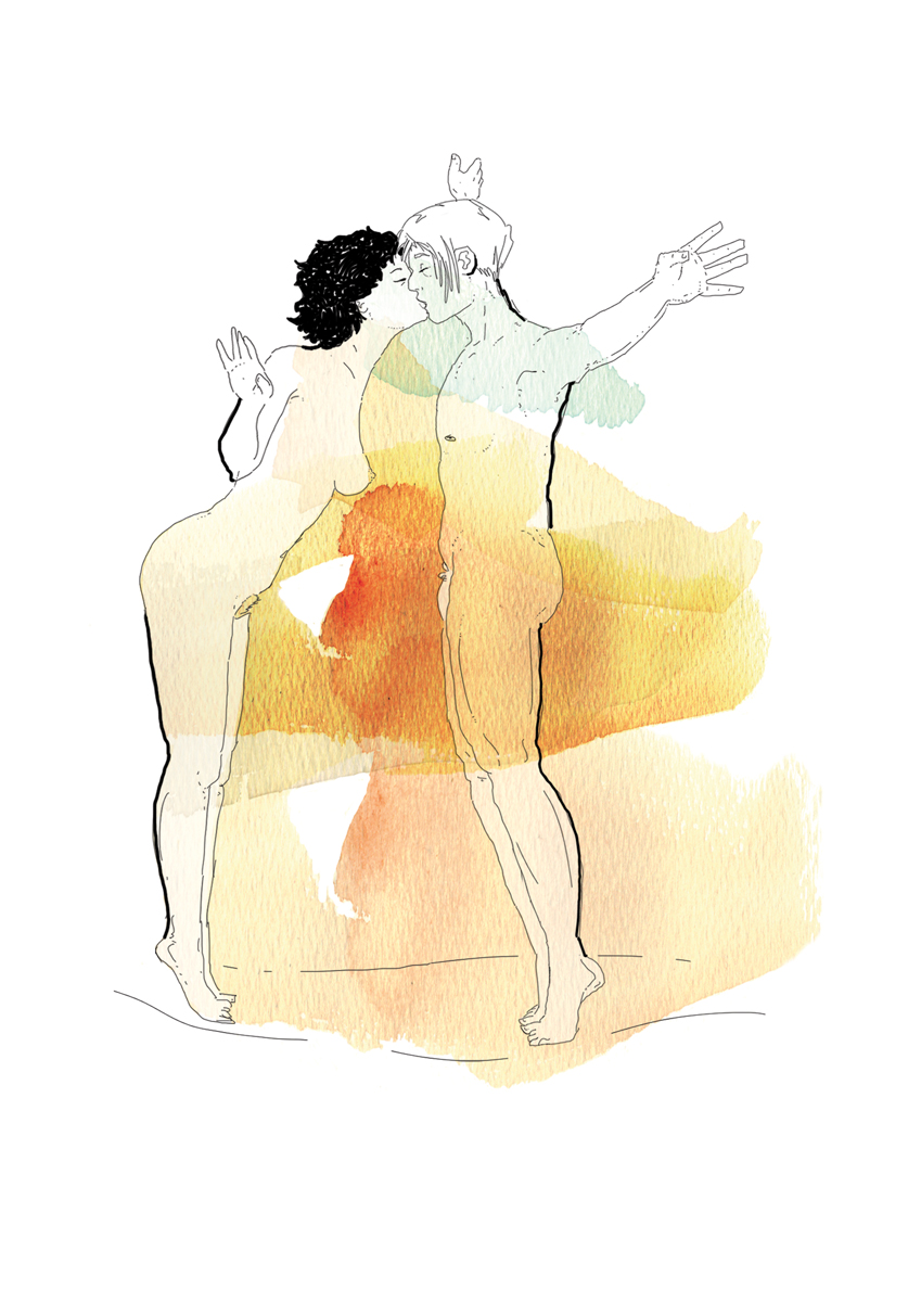 1-correre-running-training-allenamento-runner-sesso-adulti-illustrazione-illustrations-fabio-delvo-delvox-acquerelli-watercolors-baciarsi a lungo