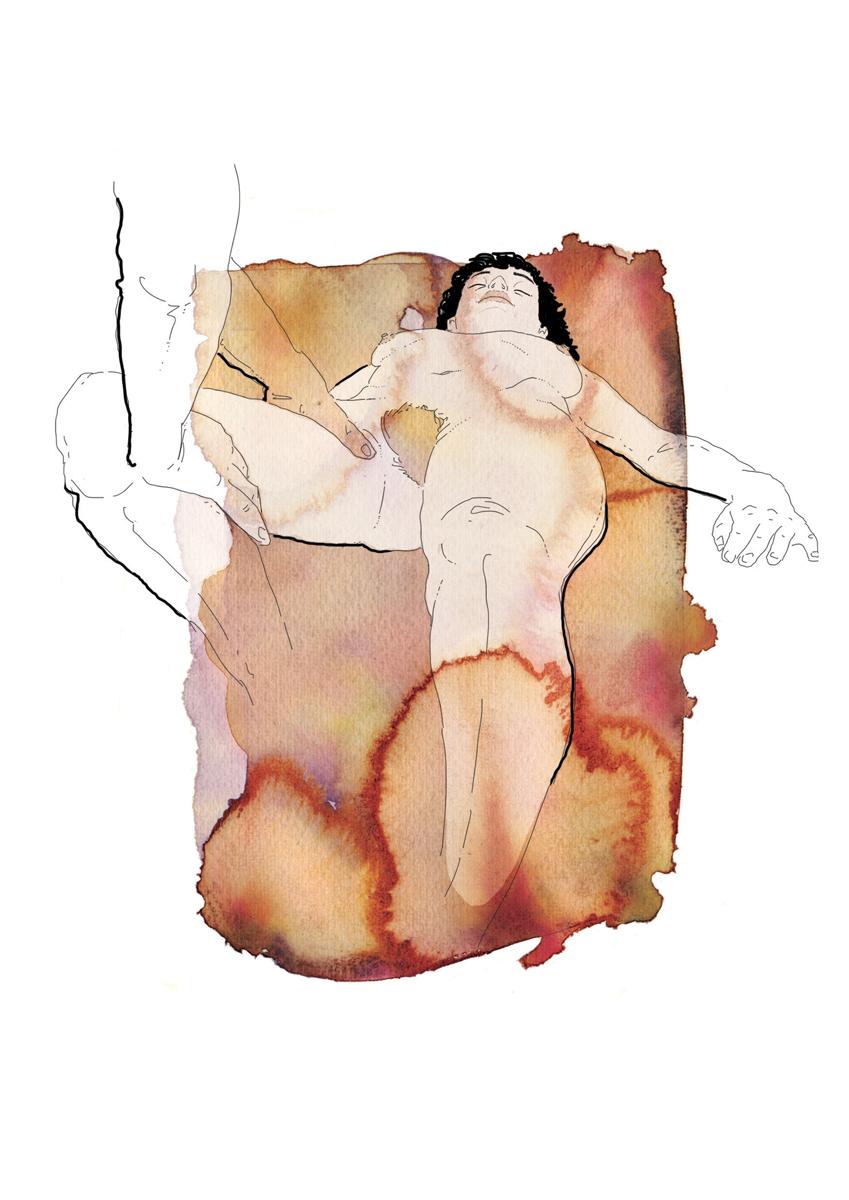 24-correre-running-training-allenamento-runner-sesso-adulti-illustrazione-illustrations-fabio-delvo-delvox-acquerelli-watercolors-massaggi alle gambe davanti