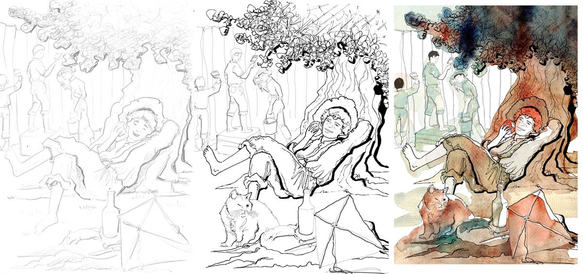 The adventures of TomSawyer-DeAgostini-Tom Sawyer-illustrations-acquerelli-illustrazioni-watercolors-fabio delvo-delvox