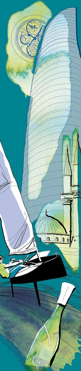 icone-icons-XXi secolo-class-Gentleman-regata-foil-moet chandon-Baku-tower-illustrations-fabio delvo-delvox-vela-orologio-notturno