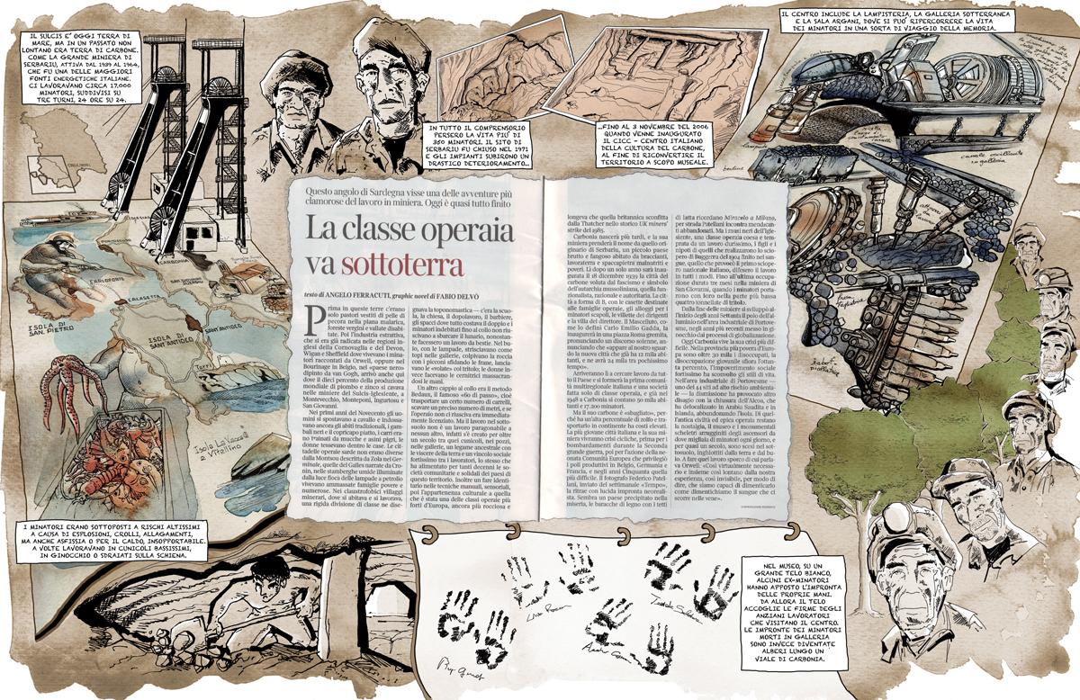 miniere-carbone-sulcis-sardegna-carbonia-minatori-museo del carbone-centro italiano cultura del carbone-serbariu-graphic novel-illustrazione-illustration-fabio delvo-delvox-corriere della sera-la lettura