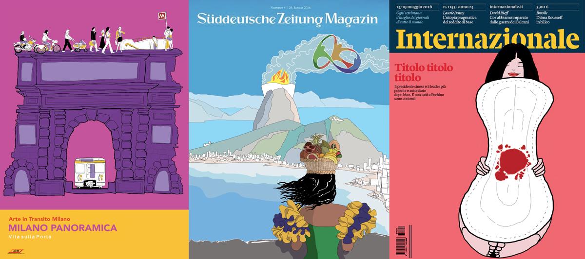 proposta-cover-poster-copertine-magazine-Suddeutsche Zeitung-Internazionale-ATM-Metropolitana-Porta Romana-Rio-Olimpiadi-sangue-mestruazioni-illustrations-fabio delvo-delvox