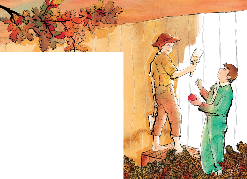 the-adventures-of-tom-sawyer-la-mela-e-la-staccionata-deagostini-tom-sawyer-illustrations-acquerelli-illustrazioni-watercolors-fabio-delvo-delvox