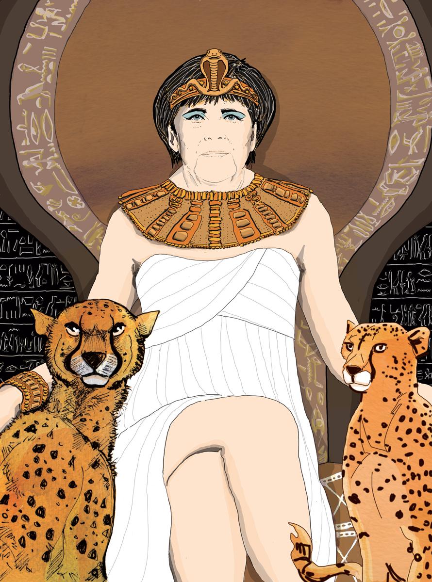 cleopatra-merkel-egitto-donne-regine-regno-ghepardo-illustrazione-watercolors-illustrations-acquerello-corriere-della-sera-la-lettura-fabio-delvo-delvox