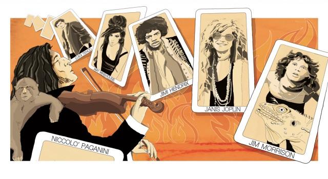 paganini-music-rock-rock-is-dead-morrison-joplin-hendrix-winehouse-tenco-leggende-mistero-illustrazione-watercolors-illustrations-acquerello-corriere-della-sera-la-lettura-fabio-delvo-delvox