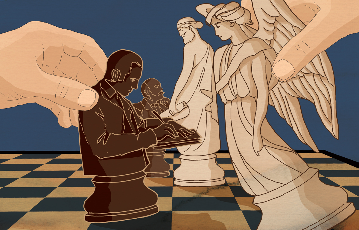 storici-narratori-umberto-eco-filosofia-narrativa-figli-padri-sulle-spalle-dei-giganti-scacchi-angelo-illustrazione-watercolors-illustrations-acquerello-corriere-della-sera-la-lettura-fabio-delvo-delvox