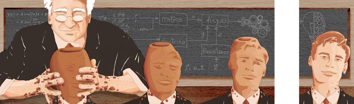 scuola-cervello-professore-vasaio-insegnamento-passione-didattica-palestra-guido-tonelli-alunno-illustrazione-watercolors-illustrations-acquerello-corriere-della-sera-la-lettura-fabio-delvo-delvox