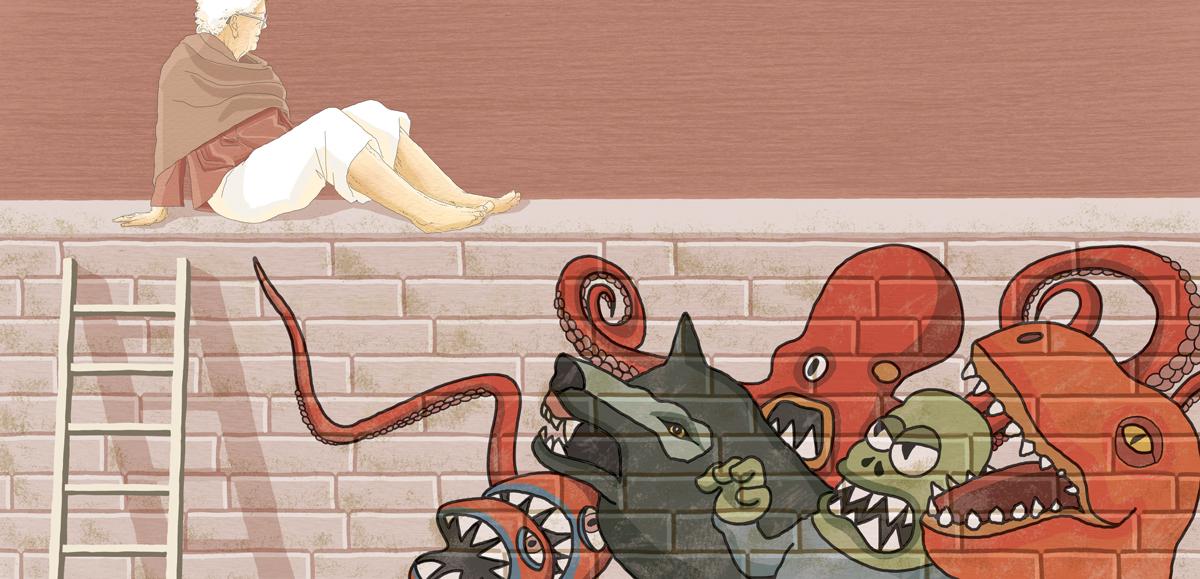 riscatto-nonna-violenza-vita-karin-slaughter-murales-male-paura-fuga-donne-crimine-illustrazione-illustrations-corriere-della-sera-la-lettura-fabio-delvo-delvox