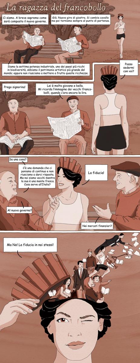 la-ragazza-del-francobollo-graohic-novel-cosa-serve-allitalia-origami-la-stampa-newspaper-fabio-delvo-delvox-illustrations-illustrazioni-publishing