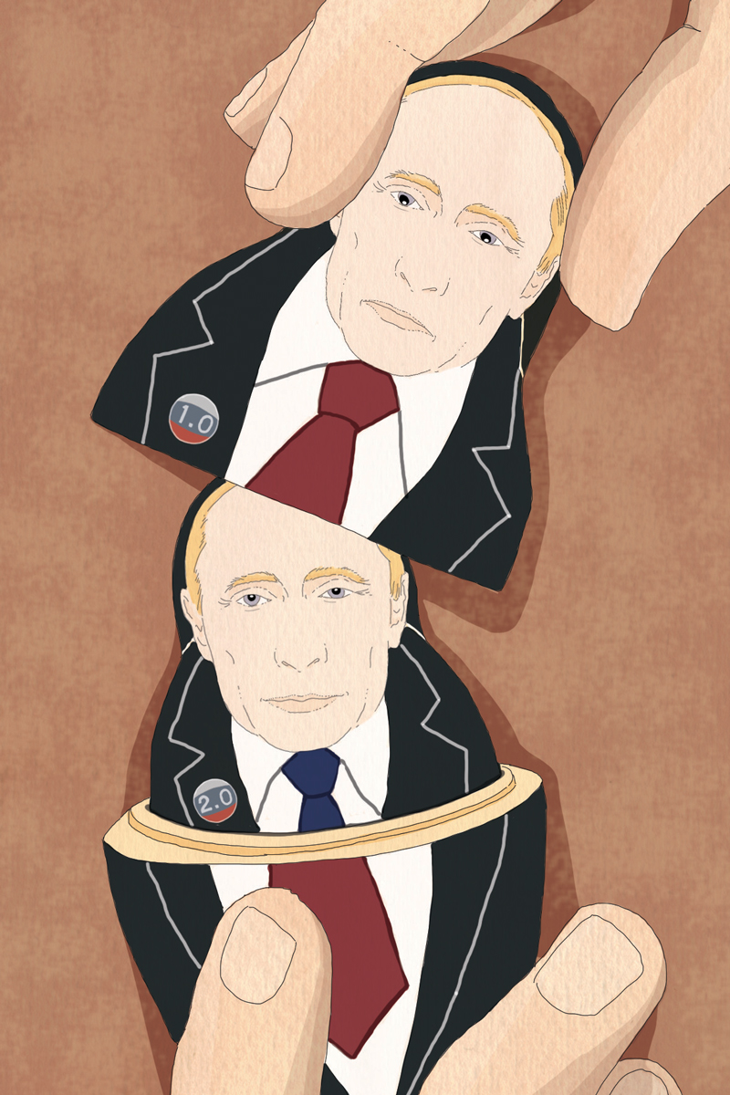 russia-elezioni-putin-rielezione-matrioska-politica-la-stampa-newspaper-editoriale-fabio-delvo-delvox-illustrations-illustrazioni-publishing