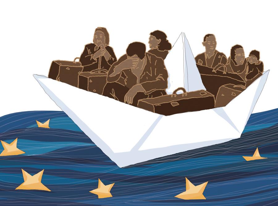 migranti-patto-europa-migrazione-mediterraneo-politica-la-stampa-newspaper-editoriale-fabio-delvo-delvox-illustrations-illustrazioni-publishing