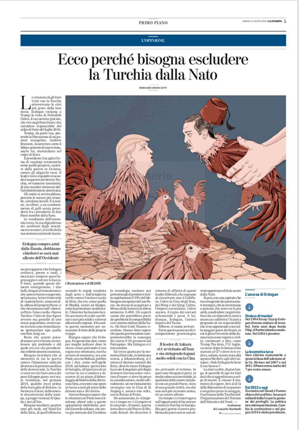 erdogan-turchia-rischio-nato-europa-trump-bhl-bernard-henry-levy-politica-la-stampa-newspaper-editoriale-fabio-delvo-delvox-illustrations-illustrazioni-publishing