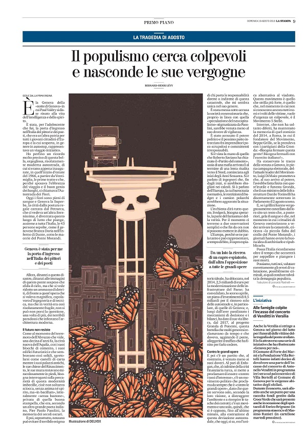 genova-crollo-ponte-morandi-morte-disastro-bhl-bernard-henry-levy-politica-la-stampa-newspaper-editoriale-fabio-delvo-delvox-illustrations-illustrazioni-publishing