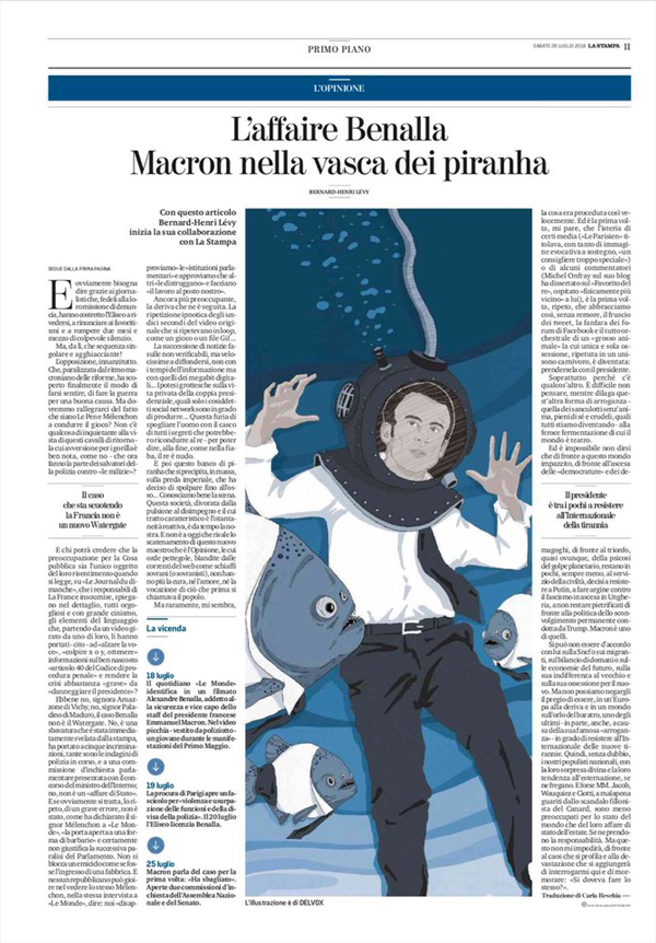 macron-piranha-benalla-francia-parigi-oppositori-bhl-bernard-henry-levy-politica-la-stampa-newspaper-editoriale-fabio-delvo-delvox-illustrations-illustrazioni-publishing