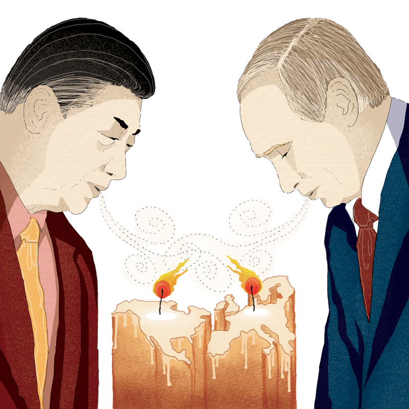 putin-russia-xi-jinping-cina-alleanza-muscoli-oriente-occidente-politica-la-stampa-newspaper-editoriale-fabio-delvo-delvox-illustrations-illustrazioni-publishing