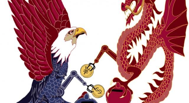 usa-trump-xi-jinping-cina-sfida-globale-dazi-tecnologia-economia-politica-la-stampa-newspaper-editoriale-fabio-delvo-delvox-illustrations-illustrazioni-publishing
