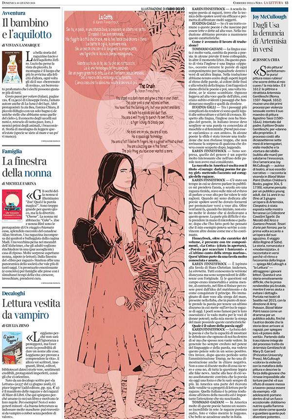 coraggio-ragazze-fuoco-grazia-adolescenza-poesia-poetry-libri-books-karen-finneyfrock-illustrazione-illustrations-corriere-della-sera-la-lettura-fabio-delvo-delvox