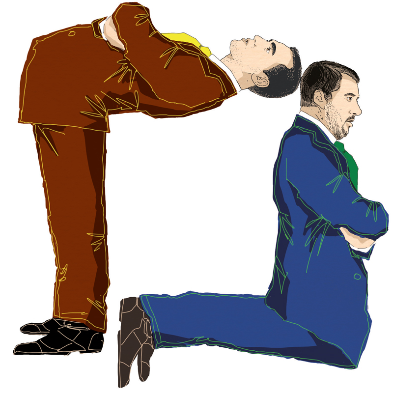 di-maio-salvini-governo-contorsioni-travaglio-giallo-verdi-italia-politica-la-stampa-newspaper-editoriale-fabio-delvo-delvox-illustrations-illustrazioni-publishing