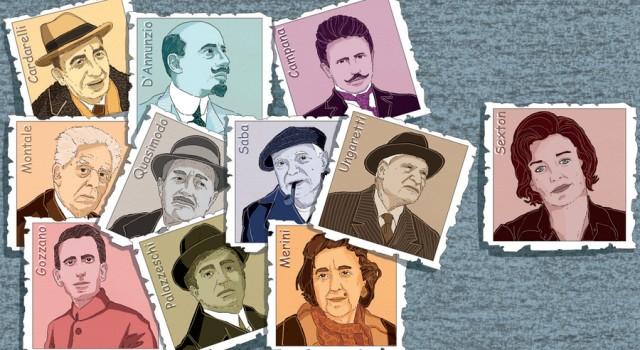 poeti-poetesse-anne-sexton-cardarelli-dannunzio-campana-montale-quasimodo-saba-ungaretti-gozzano-palazzeschi-merini-libri-books-illustrazione-illustrations-corriere-della-sera-la-lettura-fabio-delvo