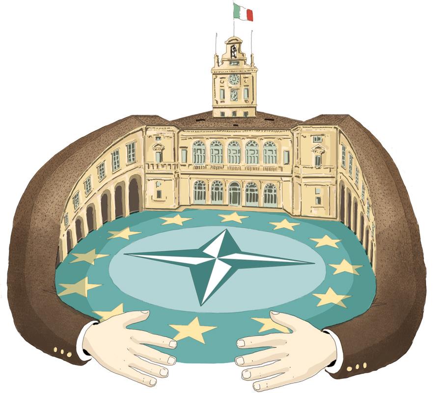 mattarella-quirinale-capo-dello-stato-europa-nato-proteggere-alleanze-italia-politica-la-stampa-newspaper-editoriale-fabio-delvo-delvox-illustrations-illustrazioni-publishing