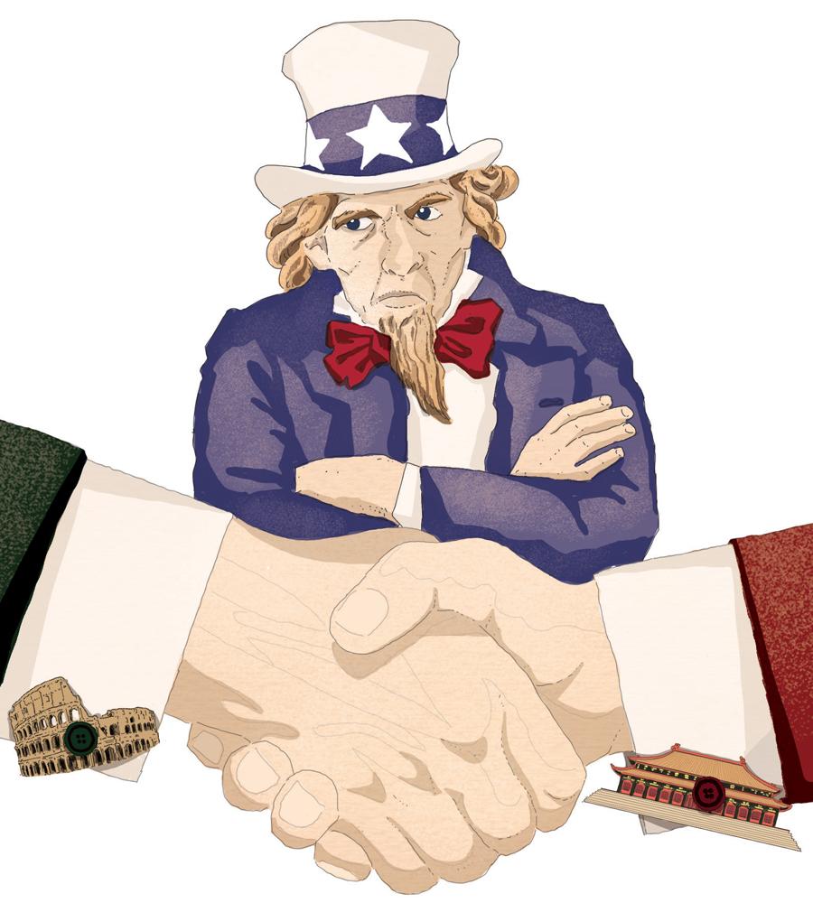 usa-trump-zio-sam-america-italia-cina-roma-pechino-accordo-via-della-seta-politica-la-stampa-newspaper-editoriale-fabio-delvo-delvox-illustrations-illustrazioni-publishing