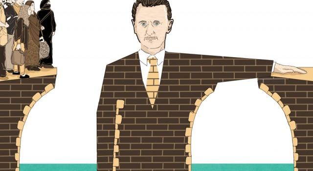 assad-siria-guerra-profughi-ritorno-politica-la-stampa-newspaper-editoriale-fabio-delvo-delvox-conceptual-illustrations-illustrazioni-concettuali-publishing