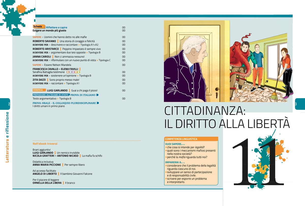 diritto-liberta-apertura-sezione-letteratura-riflessione-zanichelli-mappe-tesori-antologia-scolastica-illustrazioni-illustrations-fabio-delvo-delvox