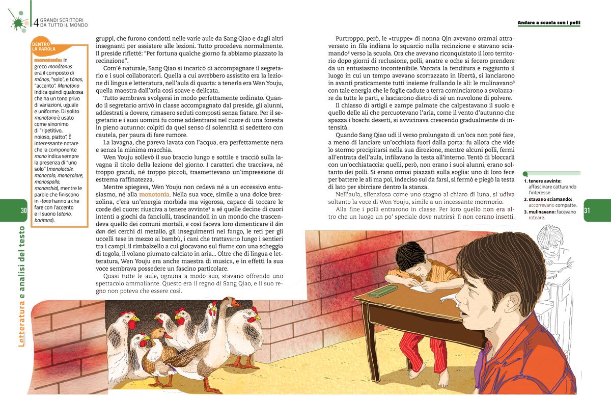 grandi-scrittori-mondo-scuola-polli-wenxuan-cao-sezione-letteratura-analisi-testo-zanichelli-mappe-tesori-antologia-scolastica-illustrazioni-illustrations-fabio-delvo-delvox