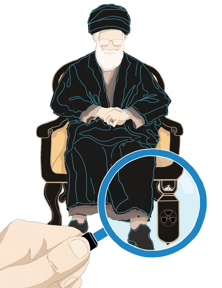 iran-nucleare-bomba-atomica-ispezione-onu-politica-la-stampa-newspaper-editoriale-fabio-delvo-delvox-conceptual-illustrations-illustrazioni-concettuali-publishing