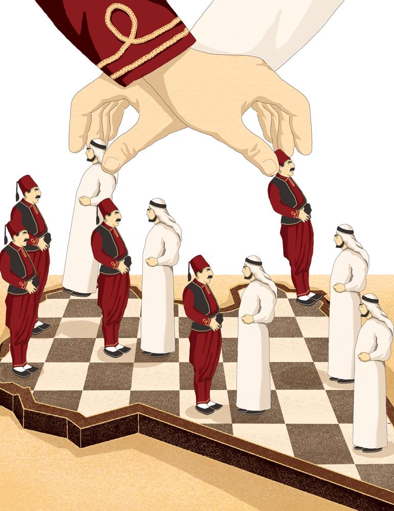 libia-sfida-superpotenze-turchia-arabia-saudita-sunniti-medio-oriente-politica-la-stampa-newspaper-editoriale-fabio-delvo-delvox-conceptual-illustrations-illustrazioni-concettuali-publishing