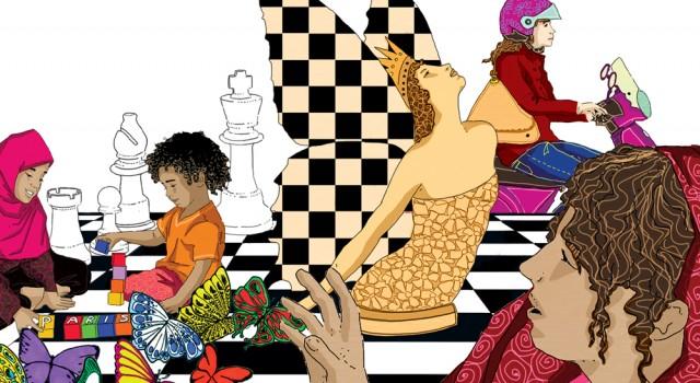 mondo-femminile-apertura-sezione-letteratura-riflessione-zanichelli-mappe-tesori-antologia-scolastica-illustrazioni-illustrations-fabio-delvo-delvox