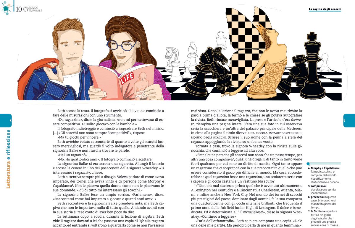 mondo-femminile-regina-scacchi-walter-tevis-sezione-letteratura-riflessione-zanichelli-mappe-tesori-antologia-scolastica-illustrazioni-illustrations-fabio-delvo-delvox