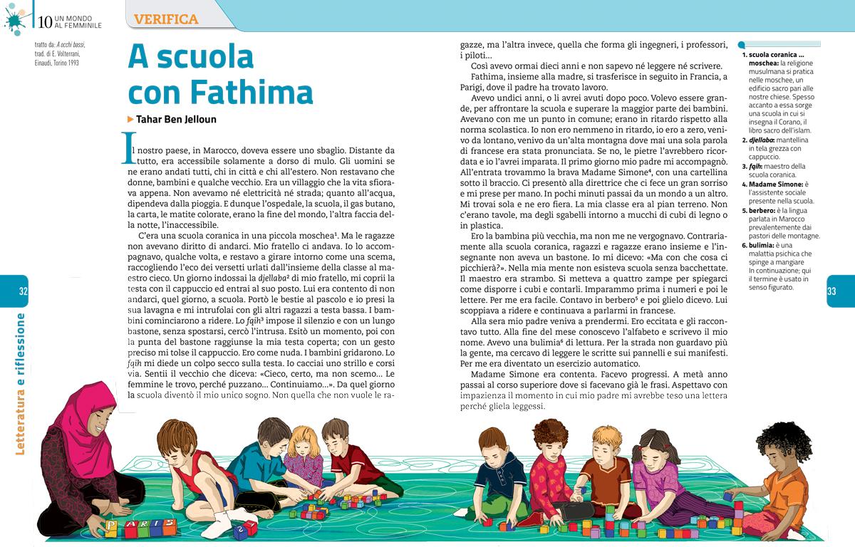 mondo-femminile-scuola-fathima-donne-sezione-letteratura-riflessione-zanichelli-mappe-tesori-antologia-scolastica-illustrazioni-illustrations-fabio-delvo-delvox