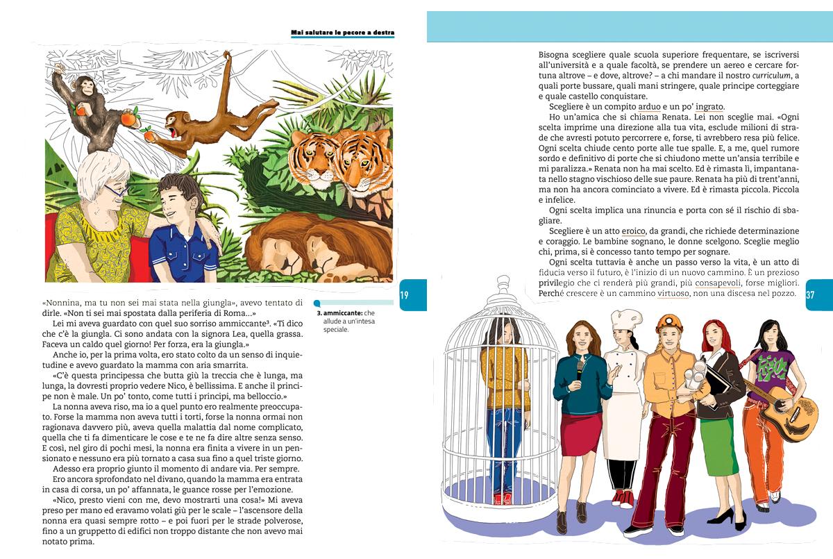 progettare-futuro-donne-lavoro-nonna-nipote-giungla-sezione-letteratura-riflessione-zanichelli-mappe-tesori-antologia-scolastica-illustrazioni-illustrations-fabio-delvo-delvox