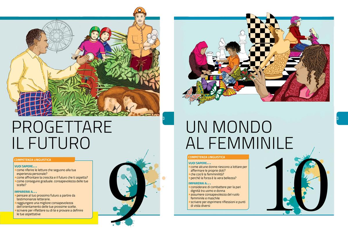 progettare-futuro-mondo-femminile-apertura-sezione-letteratura-riflessione-zanichelli-mappe-tesori-antologia-scolastica-illustrazioni-illustrations-fabio-delvo-delvox