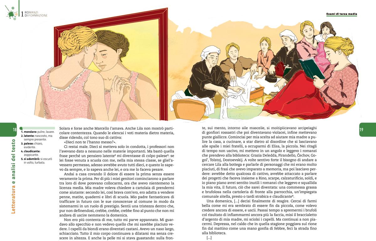 romanzi-formazione-esame-terza-media-elena-ferrante-sezione-letteratura-analisi-testo-zanichelli-mappe-tesori-antologia-scolastica-illustrazioni-illustrations-fabio-delvo-delvox