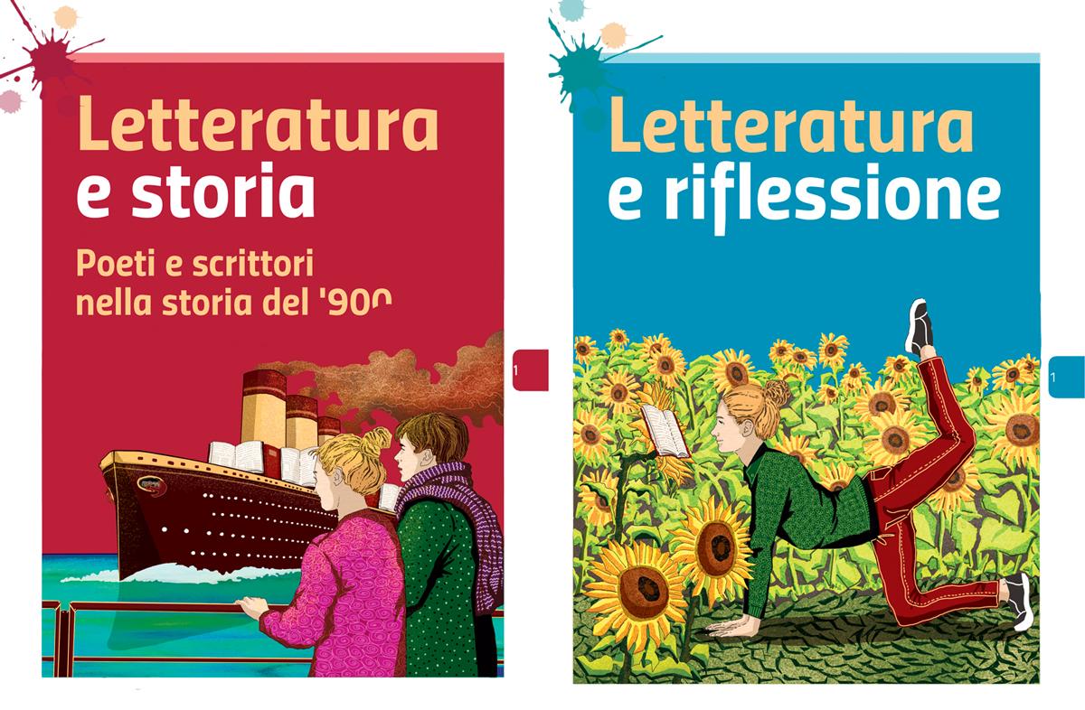 sezione-letteratura-storia-riflessione-zanichelli-mappe-tesori-antologia-scolastica-illustrazioni-illustrations-fabio-delvo-delvox