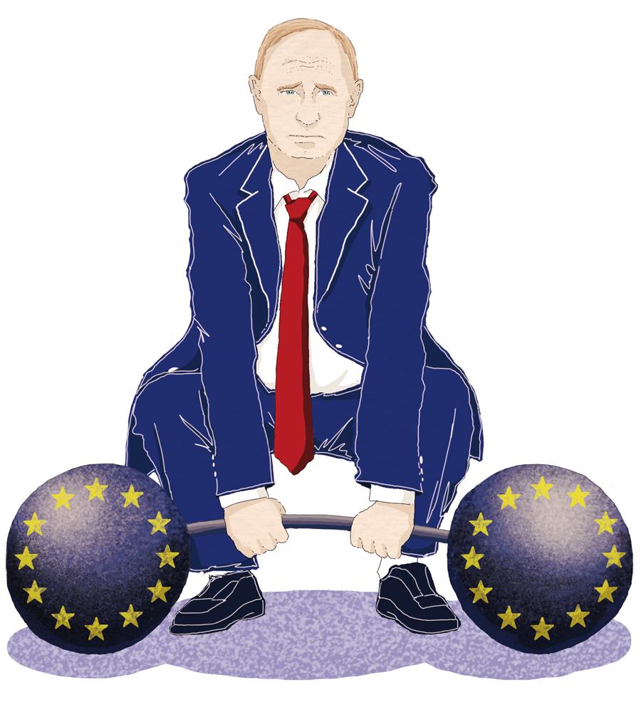 putin-russia-offensiva-europa-affanno-indebolimento-politica-la-stampa-newspaper-editoriale-fabio-delvo-delvox-conceptual-illustrations-illustrazioni-concettuali-concettuale-publishing
